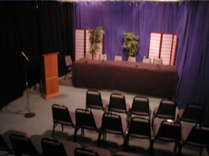 Here's the studio setup for a panel discussionStudio - Panel Discussion
