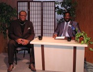 Dr. George Blount on set with former NY Nets Captain Tim Bassett.