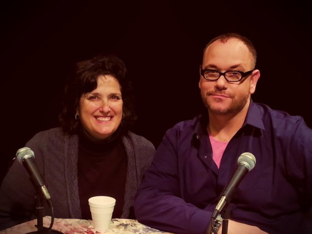 Robin Fox and Tom Ragu on the set of The Tom Ragu Sit-Down Comedy Show Podcast